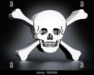 White skull and bones on black background - Stock Photo