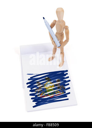 Wooden mannequin made a drawing of a flag - Pennsylvania - Stock Photo