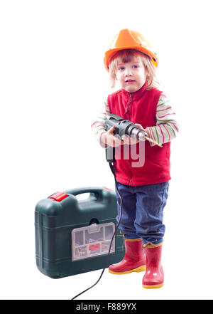 b2ea44d9532 Isolated over white background · 2 years baby in hardhat with drill and tool  box. Isolated over white background -