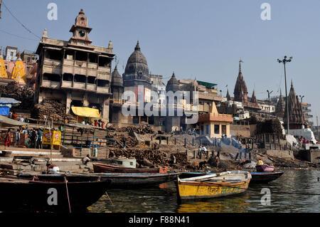Manikarnika Ghat is the main Traditional Hindu Cremation place where Hindu bodies are creamated in Varanasi, Uttar - Stock Photo