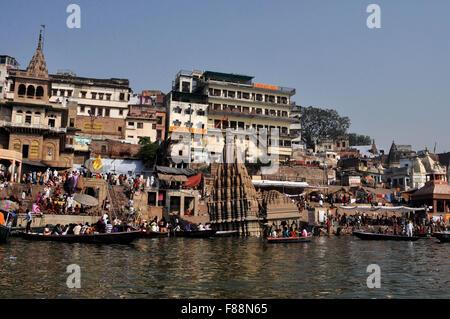Manikarnika Ghat is the main Traditional  Hindu cremation place where Hindus  bodies are cremated, Varanasi, Uttar - Stock Photo