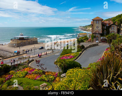 The beach and Cascade Gardens at Ventnor a seaside resort on the south coast of the Isle of Wight in southern England - Stock Photo