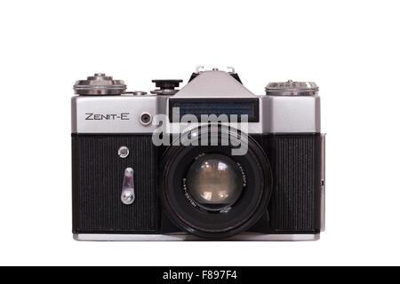 Zenith E / Zenit E single lens reflex SLR from Soviet Union Russia / USSR / Russian made classic amateur 35mm manual - Stock Photo