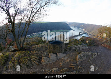St. Goarshausen, Germany. 07th Dec, 2015. A general view of the deserted Lorelei plateau, above the Lorelei on the - Stock Photo