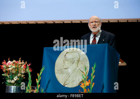 Stockholm, Sweden. 7th Dec, 2015. The 2015 Nobel Prize laureate for Physiology or Medicine William C. Campbell addresses - Stock Photo