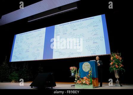 Stockholm, Sweden. 7th Dec, 2015. The 2015 Nobel Prize laureate for Physiology or Medicine Satoshi Omura addresses - Stock Photo