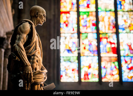 Interior of Milan Cathedral, Piazza Duomo, Milan, Lombardy, Italy - Stock Photo