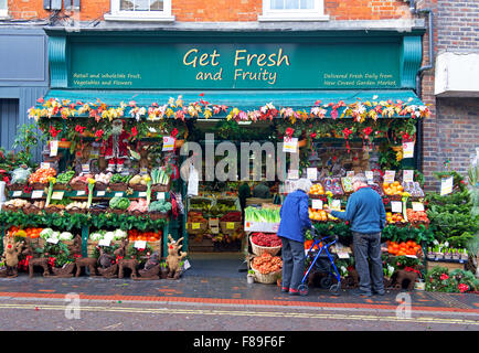 Display outside greengrocers shop - Get Fresh and Fruity - in Alton, Hampshire, England UK - Stock Photo
