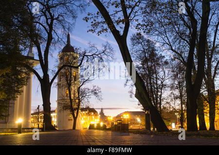 Vilnius Cathedral Belfry illuminated at night. Cathedral Square, Vilnius, Lithuania, Europe. - Stock Photo