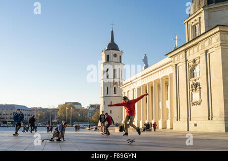 Skaters at Cathedral Square, Vilnius, Lithuania, Europe - Stock Photo