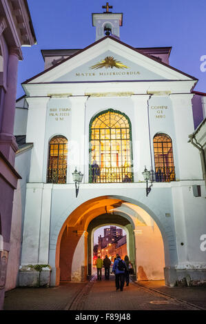 Our Lady of the Gate of Dawn an object of veneration for both Roman Catholic and Orthodox in Vilnius, Lithuania, - Stock Photo
