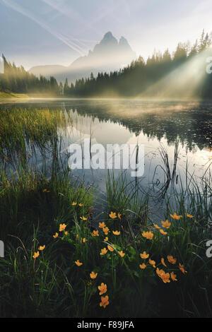 Mountain Lake, Dolomites, Europe - Stock Photo