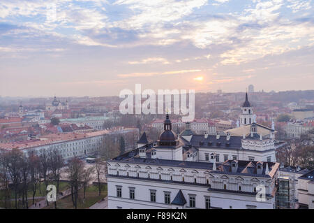 Old town overview and Grand Dukes Palace. Vilnius, Lithuania, Europe - Stock Photo