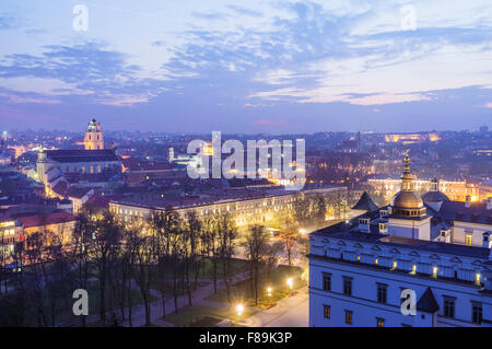 Old town overview at dusk and Grand Dukes Palace. Vilnius, Lithuania, Europe - Stock Photo