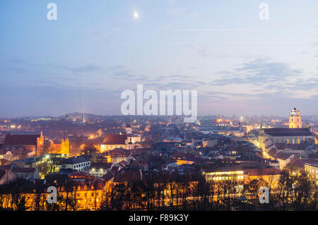Old town overview at night. Vilnius, Lithuania, Europe - Stock Photo