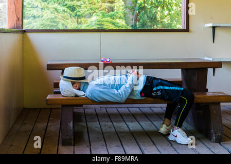 Young man snoozing on a picnic table bench - Stock Photo