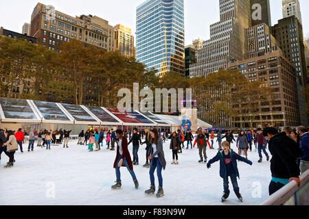 Skaters pictured in Bryant Park in New York City. Photo by Trevor Collens - Stock Photo