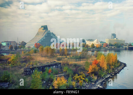 The building of the National Library of Latvia by the river Daugava - Stock Photo