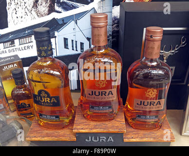 Jura Malt Whisky in shop window, Edinburgh,Scotland,UK - Stock Photo