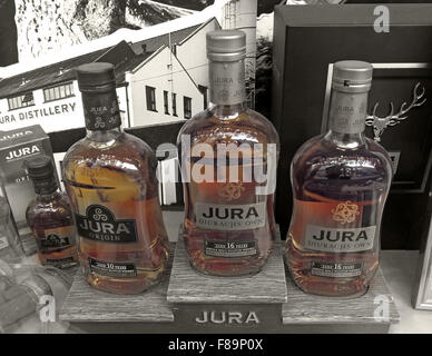 Jura Malt Whisky in shop window, Edinburgh,Scotland,UK - Stock Photo
