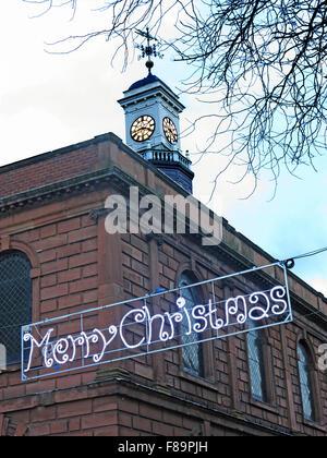 Merry Christmas from Warrington, Sankey St, Cheshire, England, UK - Stock Photo