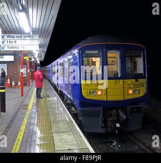 Northern Electric Trains at Wigan North Western Station, Lancs,England, UK, 319375 - Stock Photo