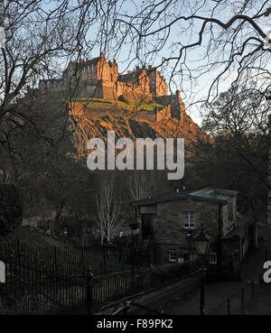 Edinburgh Castle in Winter, Scotland, UK from St Cuthberts graveyard - Stock Photo