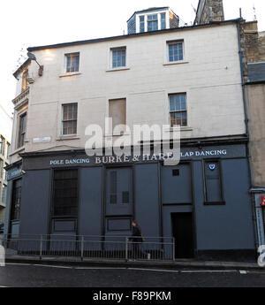 The Burke & Hare pole and lap dancing pub, 'Pubic Triangle', High Riggs, Edinburgh, Scotland, UK - Stock Photo
