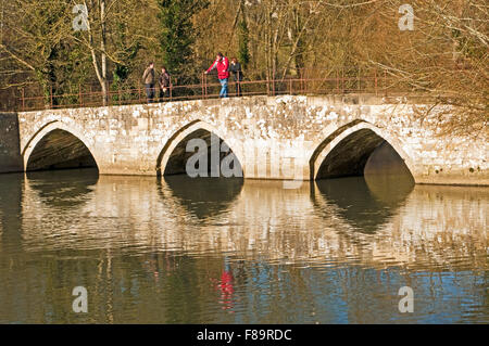 The old stone footbridge/packhorse bridge over the River Avon at Bradford on Avon in Wiltshire, England - Stock Photo