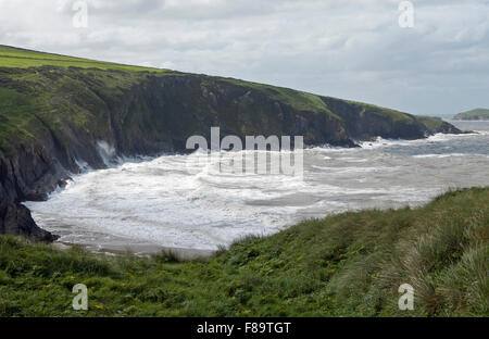 Mwnt Bay on the Ceredigion Coast, West Wales, on a windy day - Stock Photo