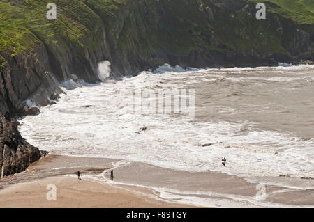 Mwnt Beach on the Ceredigion, or Cardiganshire, coast in West Wales, UK - Stock Photo
