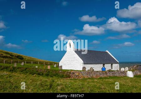 Mwnt Church on the Ceredigion, or Cardiganshire, Coast in West Wales, UK - Stock Photo