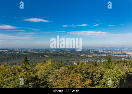 View from the Hermannsdenkmal observation point in the Teutoburger Wald to the north, Germany - Stock Photo