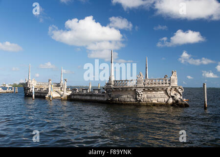 Stone barge at the Vizcaya Museum and Gardens - Stock Photo