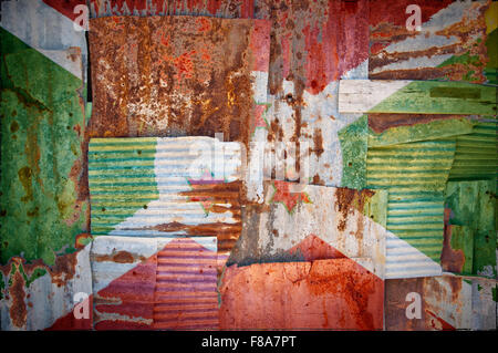 An abstract background image of the flag of Burundi painted on to rusty corrugated iron sheets overlapping to form - Stock Photo