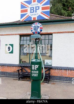 Antique BP Petrol Pump Brooklands Museum Weybridge Surrey UK - Stock Photo