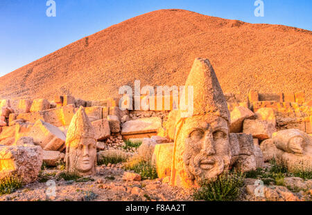 Huge Zeus and Alexander the Great sculpture, Mt. Nemrut National Park, Turkey, Ancient remnants of 2000 year old - Stock Photo