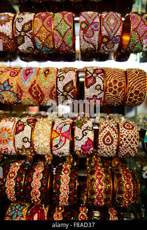 Colorful bangles on display in the colorful Laad bazaar in Hyderabad. - Stock Photo