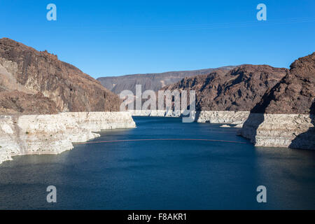 Colorado River leading to the Hoover Dam in the middle of Black Canyon - Boulder City, NV - Stock Photo