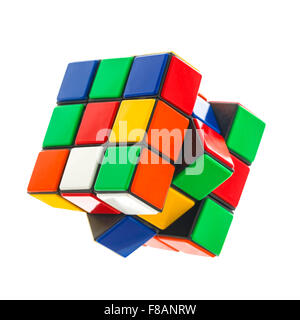 Rubik's cube on a White Background. The  Rubik's Cube was  invented by the Hungarian architect Erno Rubik in 1974. - Stock Photo