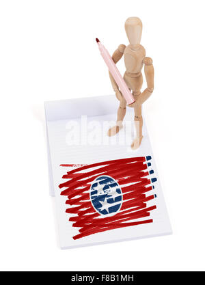 Wooden mannequin made a drawing of a flag - Tennessee - Stock Photo