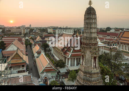 Wat Arun is a famous Buddhist temple along the Chao Praya River in Bangkok, Thailand capital city. - Stock Photo