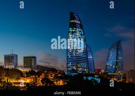 Flame Towers are new skyscrapers in Baku, Azerbaijan - Stock Photo