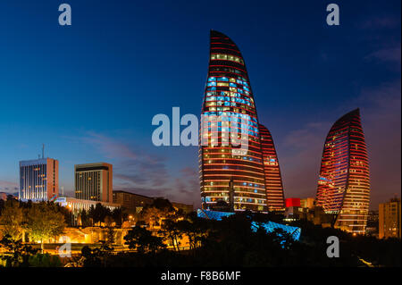 Flame Towers are new skyscrapers in Baku, Azerbaijan - Stock Photo
