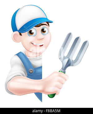 Cartoon gardener character in a cap and blue dungarees holding a garden fork tool peeking around a sign - Stock Photo