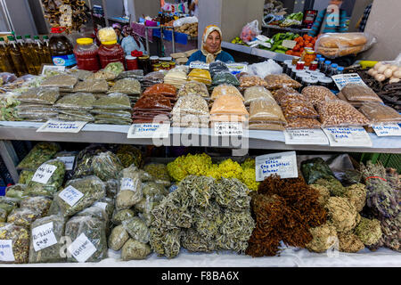 Dried Pulses, Herbs and Spices For Sale At The Market In Marmaris, Mugla Province, Turkey - Stock Photo