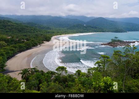 Castelhanos Beach at Ilhabela, Brazil - Stock Photo