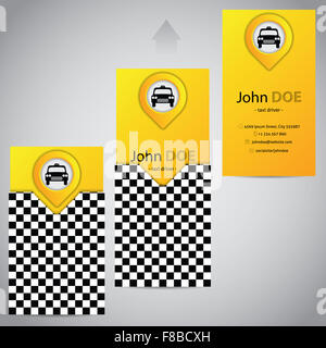 Two piece taxi business card template design with cab symbol stock two piece taxi business card template design with pointer stock photo reheart Image collections