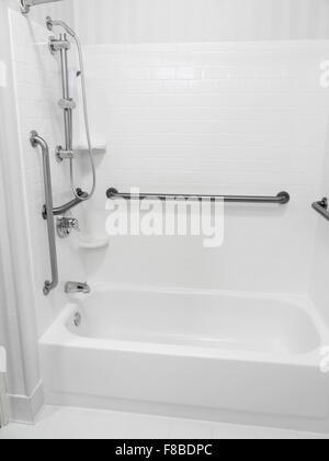 ... Handicapped Disabled Access Bathroom Bathtub Shower With Grab Bars    Stock Photo