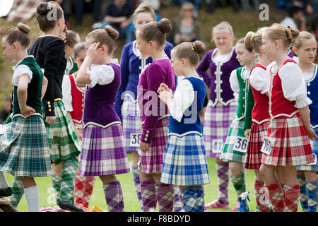 Cupar, Scotland - June 29th, 2013: A group of contestants for the Highland Dancing events at Ceres Highland Games. - Stock Photo